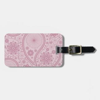 Pink paisley pattern luggage tag