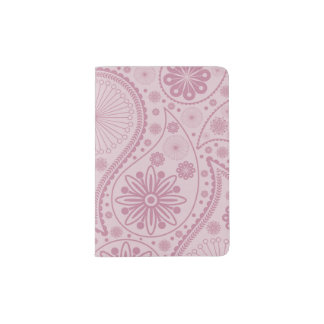 Pink paisley pattern passport holder
