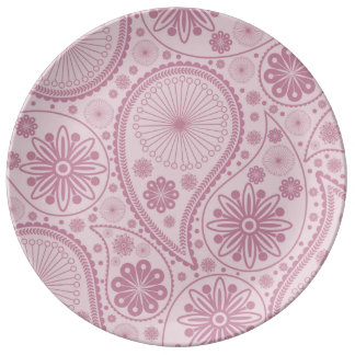 Pink paisley pattern porcelain plate