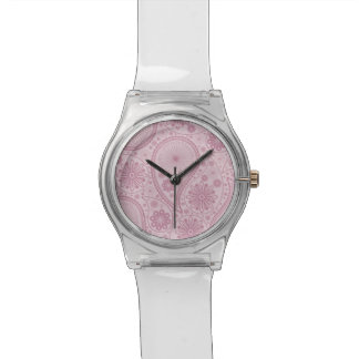 Pink paisley pattern wristwatch