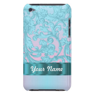 Pink & pale blue damask lace iPod Case-Mate cases