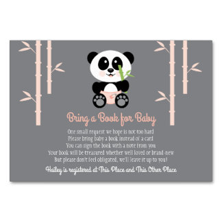 PINK PANDA BABY SHOWER BOOK REQUEST CARD