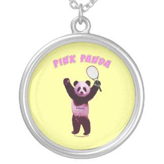 Pink Panda Bear Tennis Round Pendant Necklace
