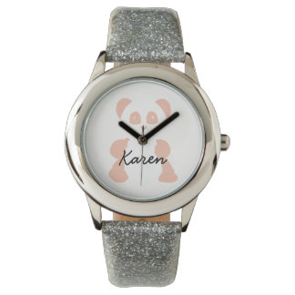 Pink panda minimalist kids watch with name