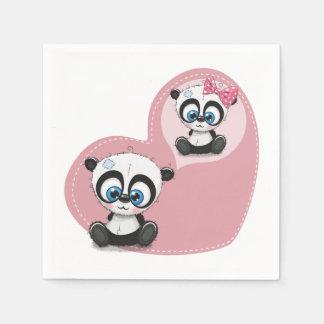 Pink  Panda Teddy Bear Heart Wedding Bridal Shower Disposable Napkins