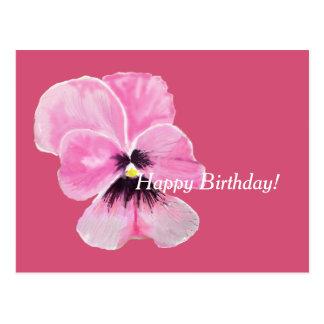 Pink Pansy Birthday Card
