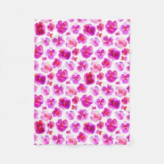 Pink pansy flower watercolor art blanket