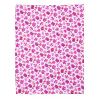 Pink pansy watercolor botancial art duvet
