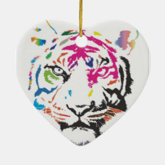 Pink Panther Madness Ceramic Heart Ornament