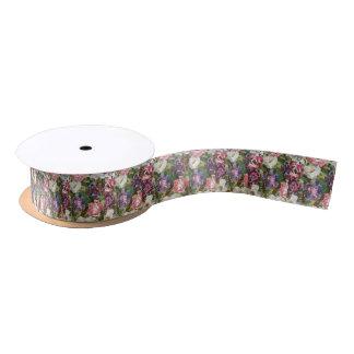 Pink Paper Flower Collage Craft Ribbon Satin Ribbon
