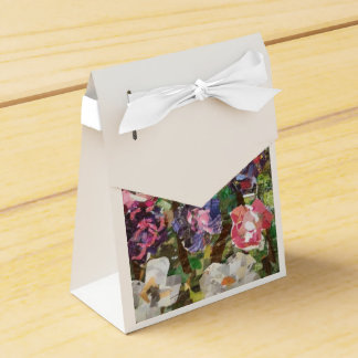 Pink Paper Flower Collage Favor Boxes
