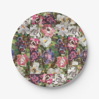 Pink Paper Flower Collage Paper Plates 7 Inch Paper Plate