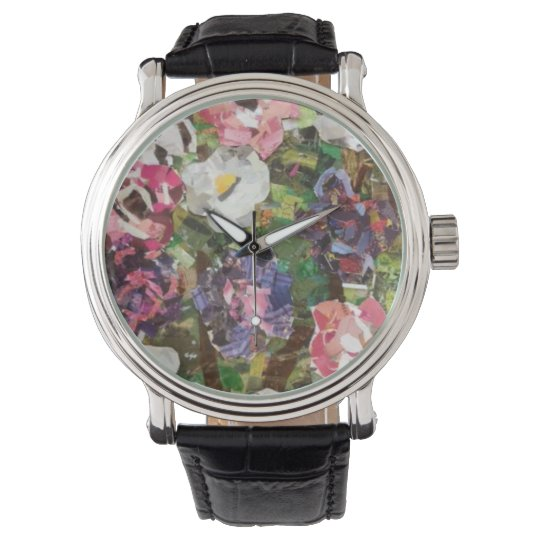 Pink Paper Flower Collage Watch