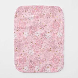 Pink paper flowers burp cloth