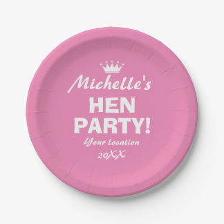 Pink paper plates for fun hen party night