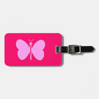 pink papillon luggage tag