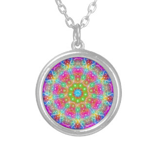 Pink Paradise Mandala Design Silver Plated Necklace