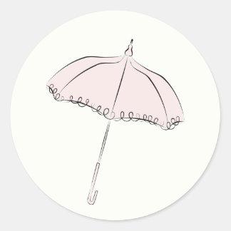 Pink Parasol Round Sticker