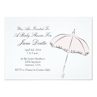 "Pink Parasol Shower 5"" X 7"" Invitation Card"