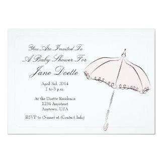 "Pink Parasol Shower 5"" X 7"" Invitation Card"