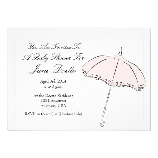 Pink Parasol Shower Invite