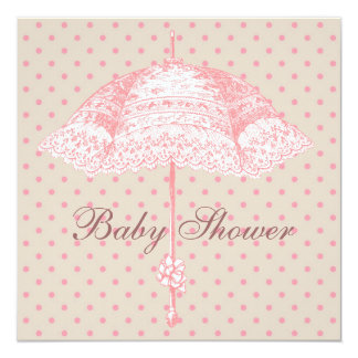 "Pink Parasol Umbrella Baby Girl Shower 5.25"" Square Invitation Card"