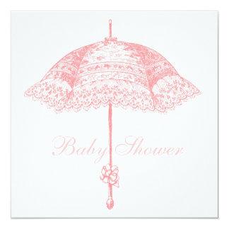 Pink Parasol Umbrella Baby Girl Shower Invite