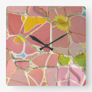 Pink Parc Guell Tiles in Barcelona Spain Clocks