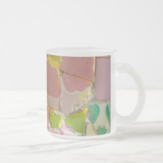 Pink Parc Guell Tiles in Barcelona Spain Frosted Glass Coffee Mug