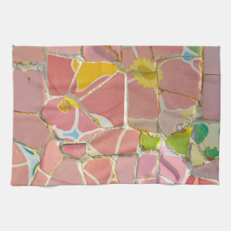 Pink Parc Guell Tiles in Barcelona Spain Kitchen Towel