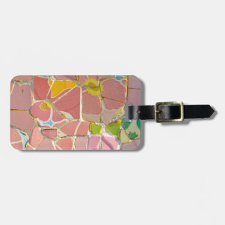 Pink Parc Guell Tiles in Barcelona Spain Luggage Tag