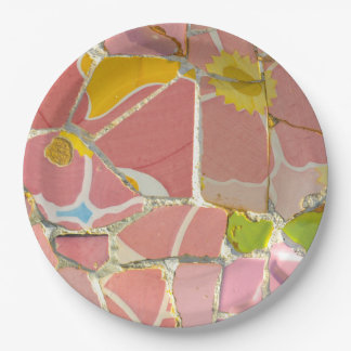 Pink Parc Guell Tiles in Barcelona Spain Paper Plate