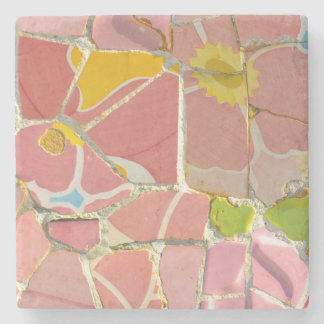 Pink Parc Guell Tiles in Barcelona Spain Stone Coaster