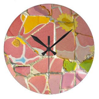 Pink Parc Guell Tiles in Barcelona Spain Wallclock