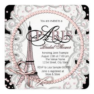 "Pink Paris Bridal Shower 5.25"" Square Invitation Card"