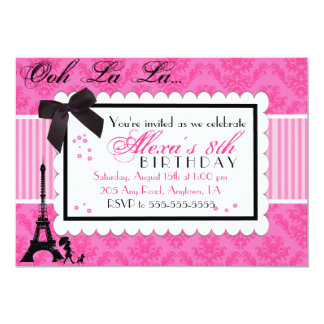 Pink Paris Damask birthday invitation