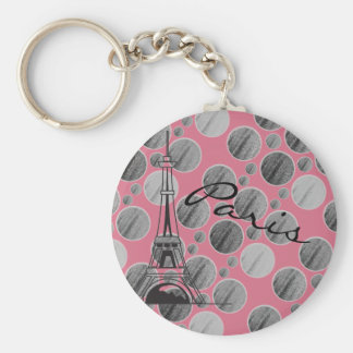 Pink Paris Dot Circle keychain