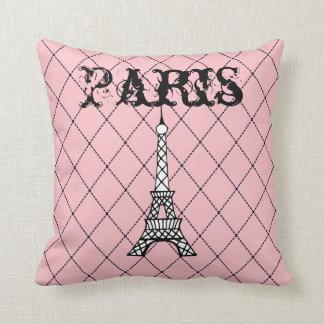 Pink Paris Eiffel Tower Bedroom Throw Pillow