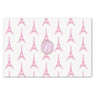 Pink Paris Eiffel Tower Monogram Modern Party Tissue Paper
