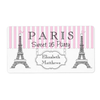 Pink Paris Eiffel Tower Sweet 16 Name