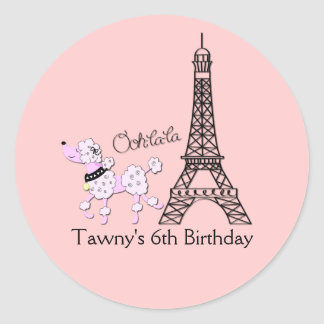PINK PARIS POODLE 3-inch Favor Stickers