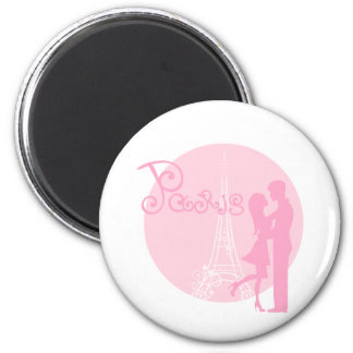 Pink Paris romantic illustration 2 Inch Round Magnet