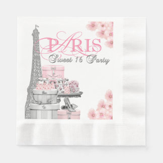 Pink Paris Sweet 16 Birthday Party Paper Napkins