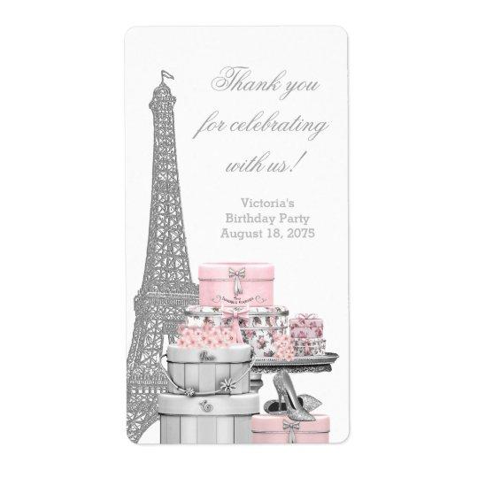 Pink Paris Wine Bottle Labels