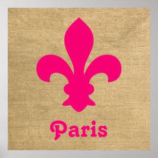 Pink Parisian Moods Fleur de Lys Poster