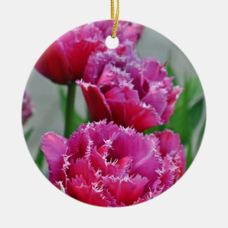 Pink parrot tulips ceramic ornament