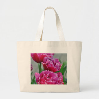 Pink parrot tulips large tote bag