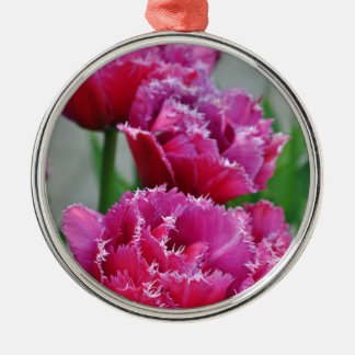 Pink parrot tulips Silver-Colored round ornament