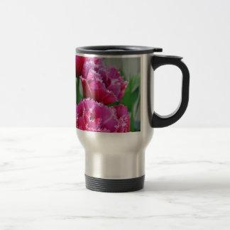Pink parrot tulips travel mug