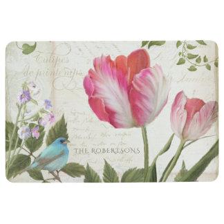 Pink Parrot Tulips w Bird French Typography Script Floor Mat